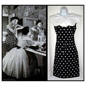 Vtg 80s Black & White Polka Dot Wiggle Dress M 10